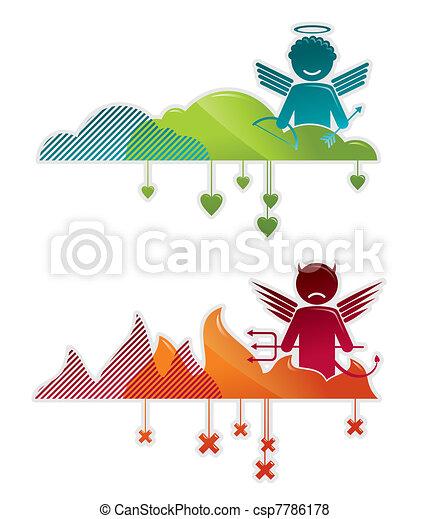 Ángel en el cielo y en el infierno, conceptos vectores ilustraciones - csp7786178