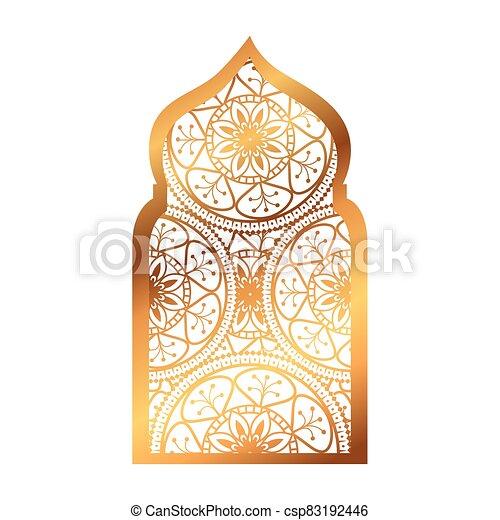 árabe, tradicional, ornamental, arco, islámico, musulmán - csp83192446