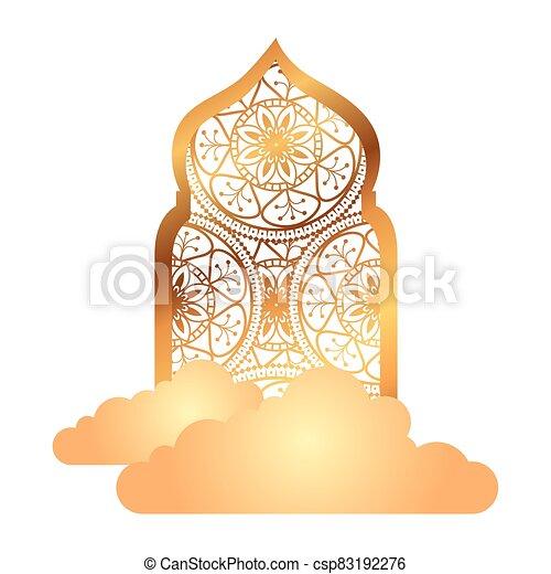 árabe, tradicional, ornamental, dorado, nubes, islámico, arco, musulmán - csp83192276