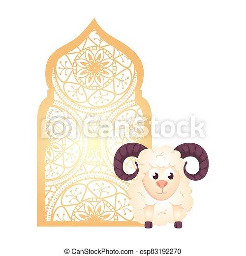 árabe, tradicional, ornamental, goat, islámico, arco, musulmán - csp83192270