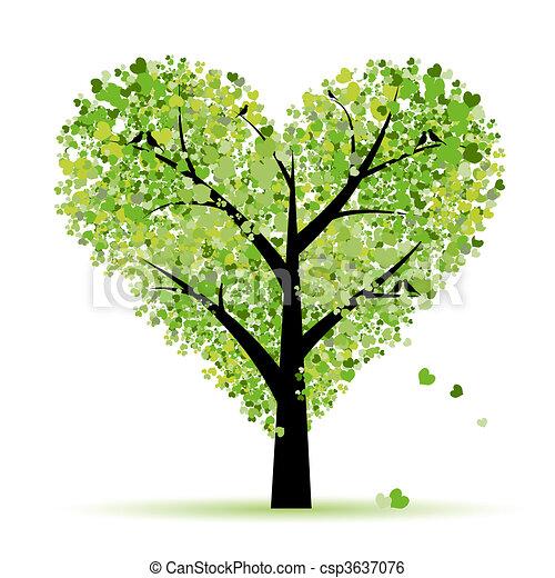 Árbol de San Valentín, amor, hoja de corazones - csp3637076
