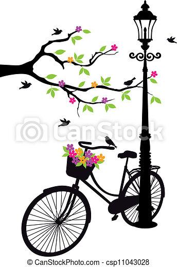 Bicicleta con lámpara, flores y árbol - csp11043028