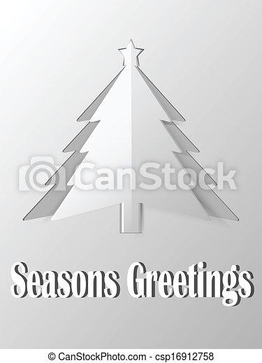 El árbol de Navidad cortó el vector de papel - csp16912758