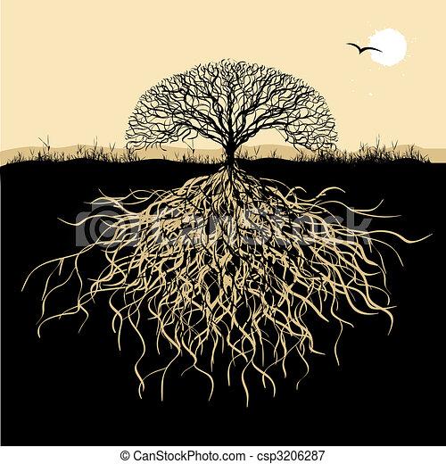 Silueta de árbol con raíces - csp3206287