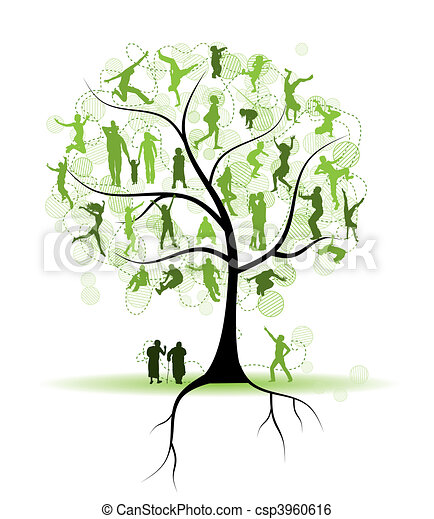 Árboles familiares, parientes, gente siluetas - csp3960616