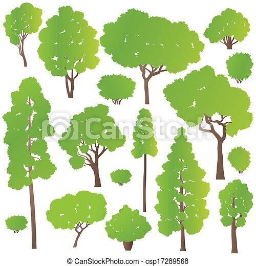 Árbol y arbustos establecen vector ecológico concepto de fondo - csp17289568