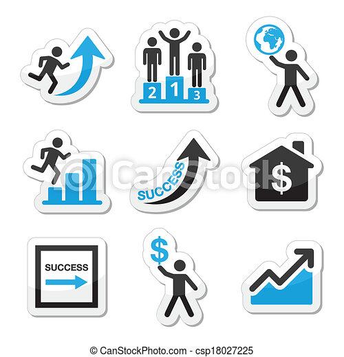 Éxito en iconos de negocios - csp18027225