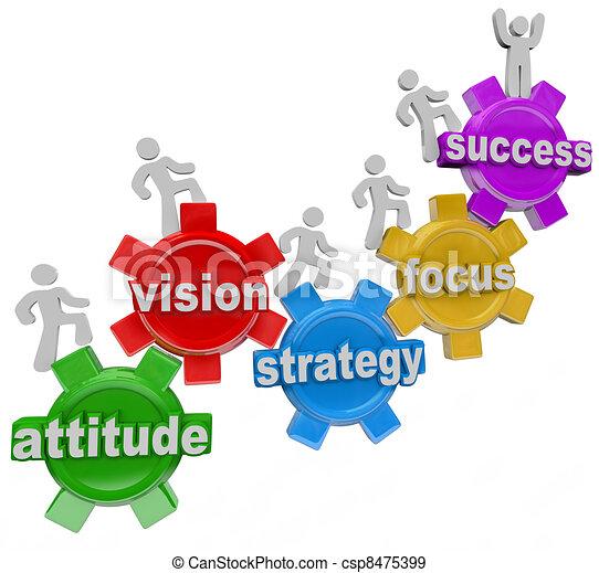 La estrategia de visión engrana a la gente para lograr el éxito - csp8475399