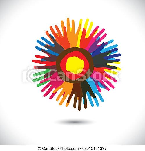 íconos de mano coloridos como pétalos de flor: concepto comunitario feliz. Esta ilustración gráfica del vector representa a la gente unida, a la comunidad, a la gente ayudando, a la hermandad universal, etc - csp15131397
