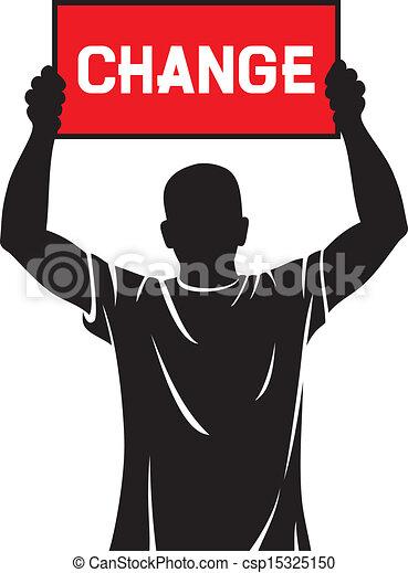 Hombre joven sosteniendo una bandera - cambio - csp15325150