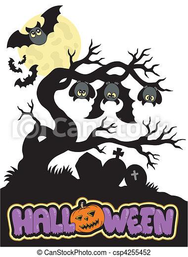 Cementerio de Halloween Silueta 1 - csp4255452