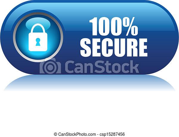 100 botón de vector seguro - csp15287456