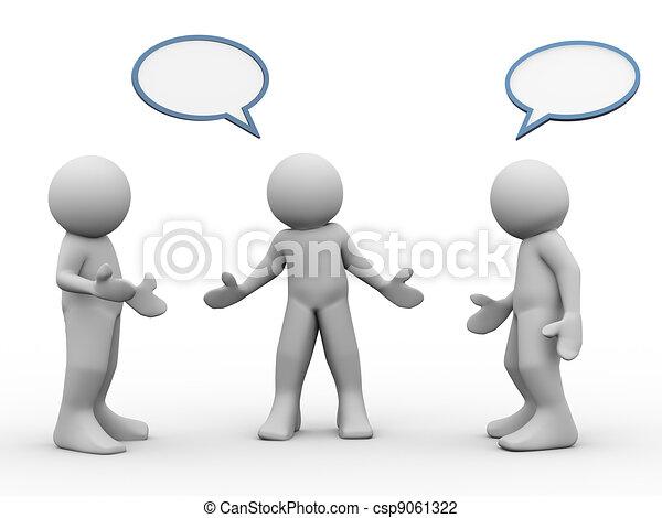 3 personas hablando - csp9061322