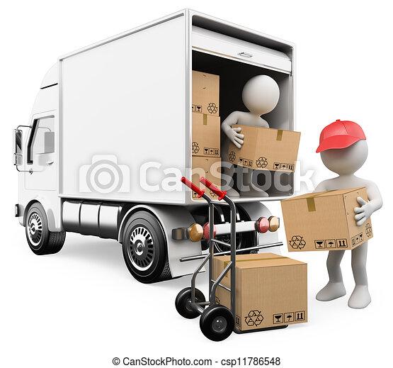 3D blancos. Trabajadores descargando cajas de un camión - csp11786548