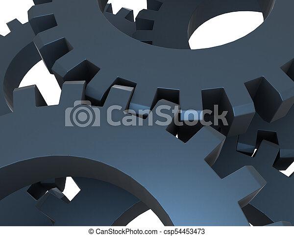 3D concepto de engranajes abstractos. Ilustración 3D - csp54453473