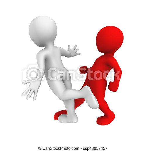 3D hombres blancos. Trip y caer. - csp43857457