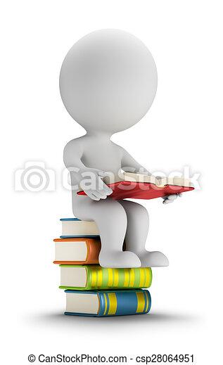 3D personas pequeñas sentadas en los libros - csp28064951