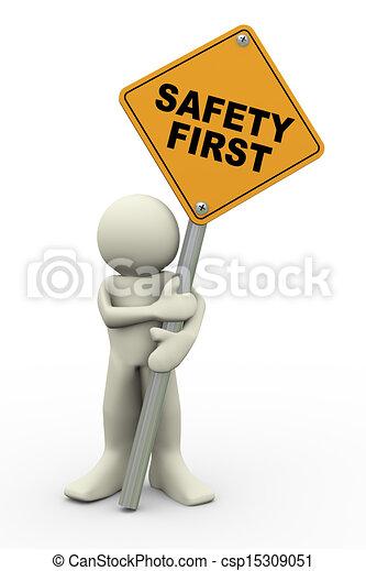 Hombre 3D con seguridad primera placa - csp15309051