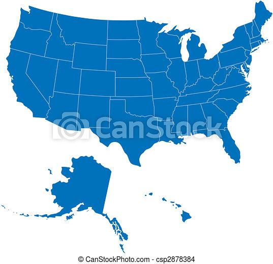 EE.UU. 50 estados de color azul - csp2878384