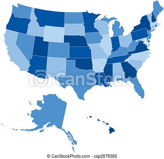 USA 50 estados de azul - csp2878382