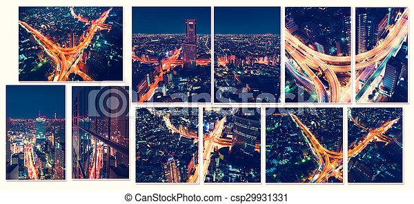 Vista aérea de las ciudades de noche en Tokio, Japón desde un rascacielos - csp29931331