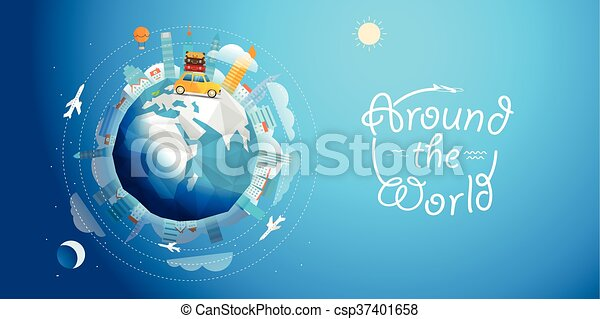 A través del mundo gira en coche. Ilustración de vectores de viaje - csp37401658