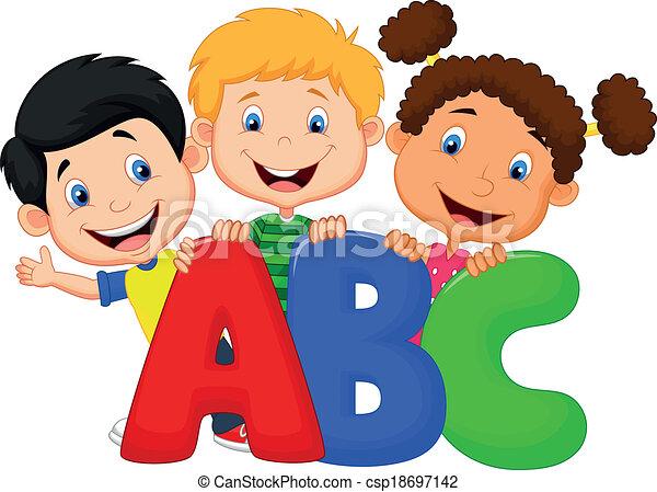 Dibujos de niños con ABC - csp18697142