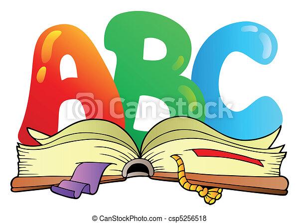 Cartas de cartón ABC con un libro abierto - csp5256518