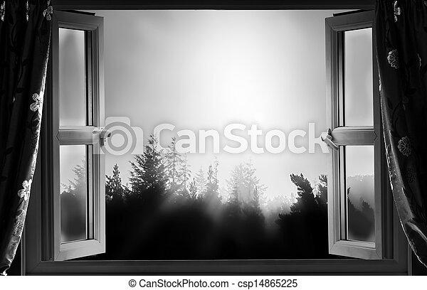Abre la ventana en la noche BW - csp14865225