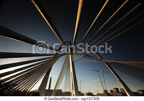 Abstracción del puente de suspenso en Putrajaya - csp1317435