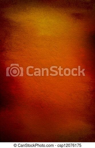 Abstracto fondo texturado con rojo, marrón y patrones amarillos en el telón naranja - csp12076175