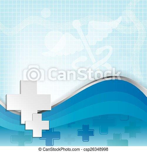 Abstraer antecedentes médicos con el símbolo médico caduceo. - csp26348998