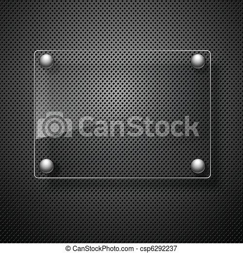 Abstraer fondo de metal con marco de vidrio. Ilustración del vector. - csp6292237