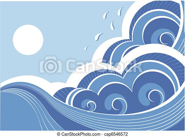 Abstraer las olas del mar. Ilustración del vector del paisaje marino - csp6546572