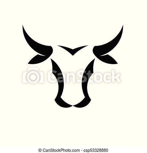 Abstraer simple logotipo de la cabeza de toro - csp53328880
