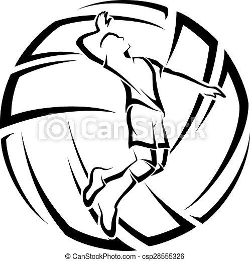 Acento de voleibol masculino - csp28555326