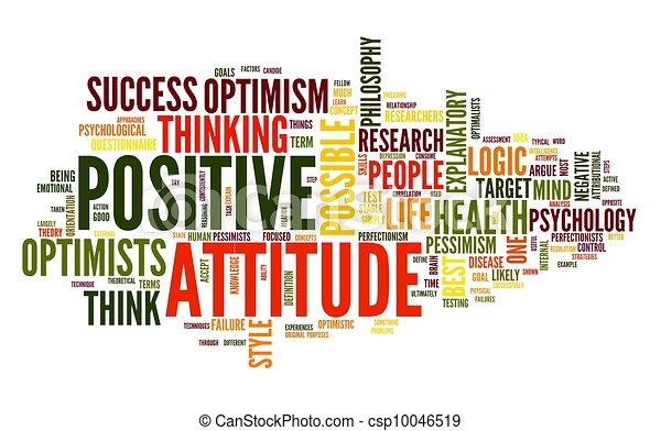 El concepto de actitud positiva en la nube de etiqueta - csp10046519