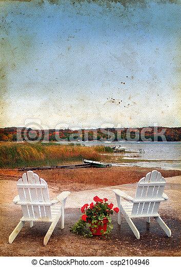 sillas Adirondack junto al mar en fondo grunge - csp2104946