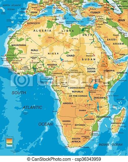 Un mapa físico de África - csp36343959