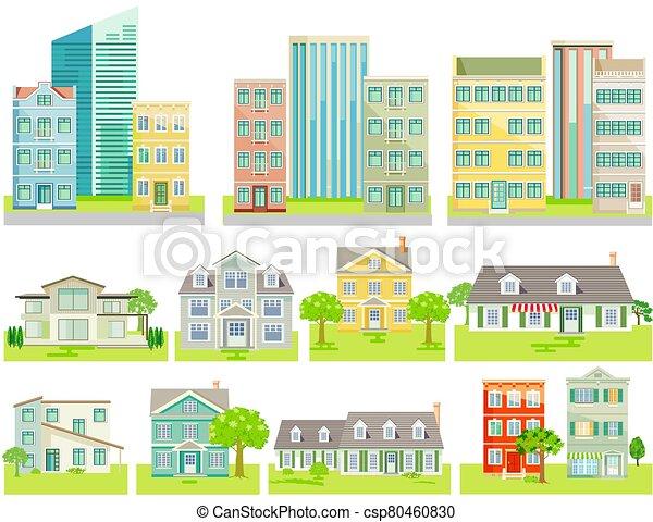 afuera, grupo, -, diferente, vector, corte, plano de fondo, neutral, casas - csp80460830