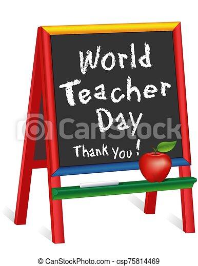 agradecer, 5, manzana, profesor, día, you!, childrens, mundo, pizarra, profesor, octubre, caballete - csp75814469