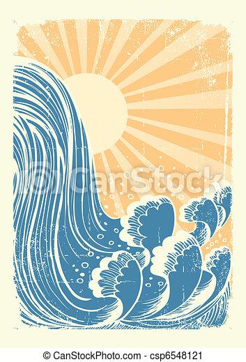 Cascada. El vector grunge mares azules de fondo con el sol - csp6548121