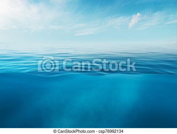agua, soleado, océano azul, nublado, mar, o, superficie, cielo, submarino - csp76992134