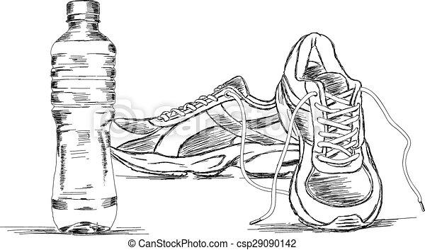 La botella de agua y las zapatillas vector - csp29090142