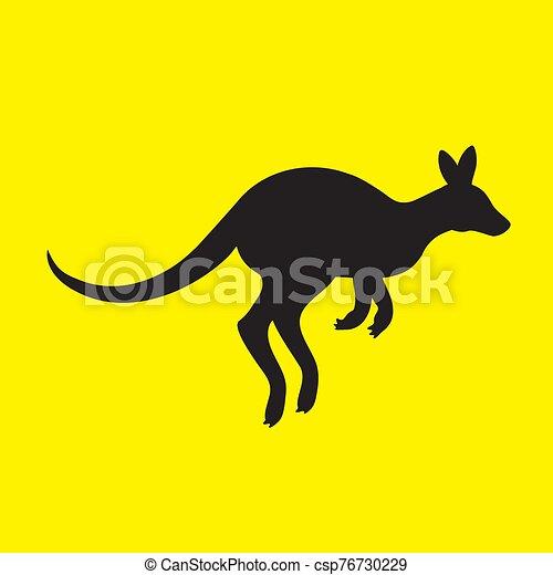 aislado, canguro, silueta, amarillo, fondo., animal, imagen, vector - csp76730229