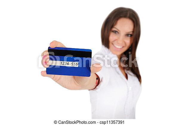 Mujer de negocios aislada - csp11357391