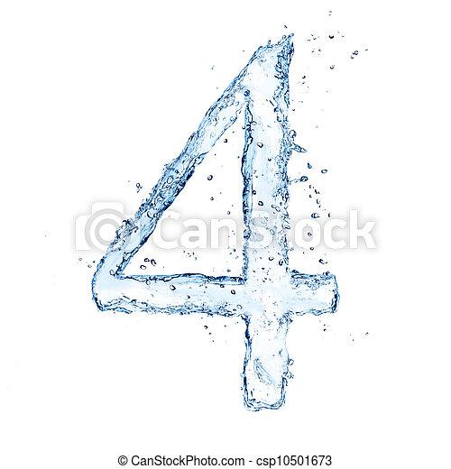 El agua salpica el número 4 aislado en el fondo blanco - csp10501673