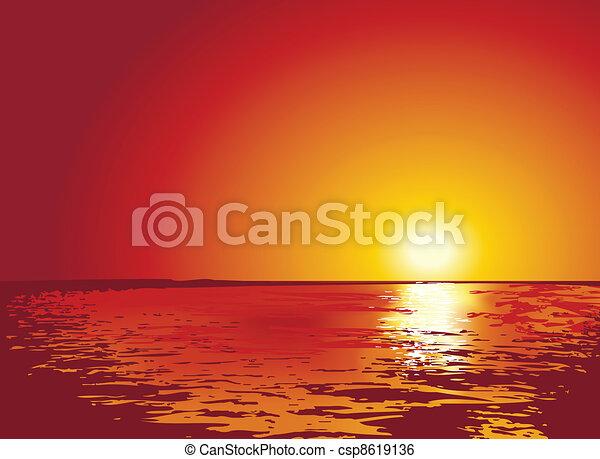 Al atardecer o al amanecer en el mar, ilustraciones - csp8619136