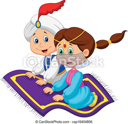 Cartoon Aladdin en una alfombra voladora - csp16404806