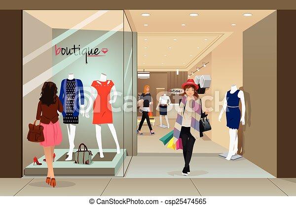 Una mujer comprando en un centro comercial - csp25474565